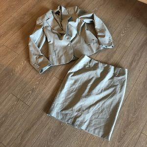Nicole Miller Striped Blazer Skirt Business Set